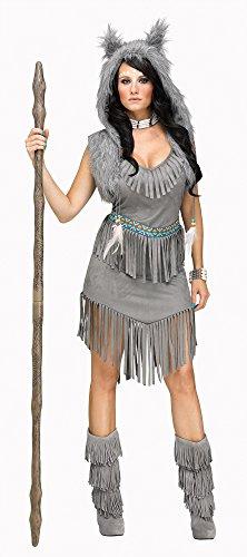 Fun World Women's Wolf Dancer Costume, Grey, Small/Medium
