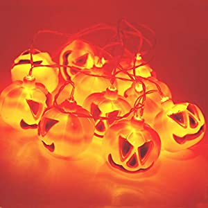 BEIERMU Waterproof Pumpkin LED String Lights,10LED 35cm Lights Battery Operated LED, DIY Decoration Halloween/Theme Parties/Carnival/ Festival/Celebration Other Special Occasion
