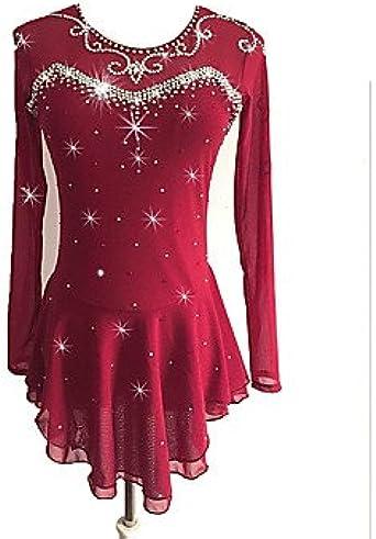Eiskunstlauf-Kleid-Frauen-M/ädchen Eislaufen Kleid Schwarz Spandex hohe Elastizit/ät-Wettbewerb Skating Handgemachte Strass Lange H/ülse Schlittschuhlaufen
