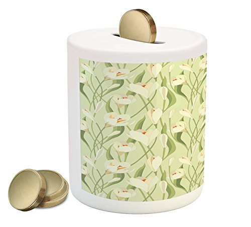 Ambesonne Garden Art Piggy Bank, Spring Flowers Bouquet Crocuses with Healthy Fresh Petals Botanical, Printed Ceramic Coin Bank Money Box for Cash Saving, Pale Green Cream Orange (Crocus Cream)