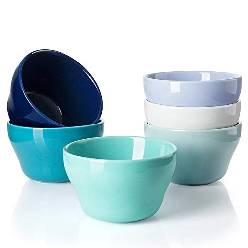 Green Bouillon Cup - Sweese 1312 Porcelain Bouillon Cups - 8 Ounce Dessert Bowls for Cottage Cheese, Fruit, Crackers, Salsa, Little Size Dishes - Set of 6, Cold Assorted Colors