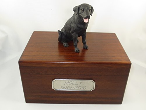 Black Labrador Porcelain - Beautiful Paulownia Medium Wooden Urn with Black Labrador Lab Figurine & Pewter Personalized Engraving