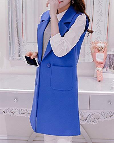 Smanicato Elegante Tailleur Autunno Primaverile Lunga Gilet Fashion Ufficio Di Colori Marca Business Da Giacca Blazer Saphirblau Mode Solidi Camicia Bavero Tempo Donna Libero 5Rqwpz