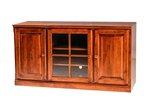 (Forest Designs Traditional Alder TV Stand with Media Storage and Wood Lattice Doors: 67W x 30H x 21D 67w Cherry Oak)