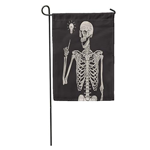 Semtomn Garden Flag Halloween Human Skeleton Has Idea Over Vintage Drawing Etching Happy Home Yard House Decor Barnner Outdoor Stand 28x40 Inches Flag