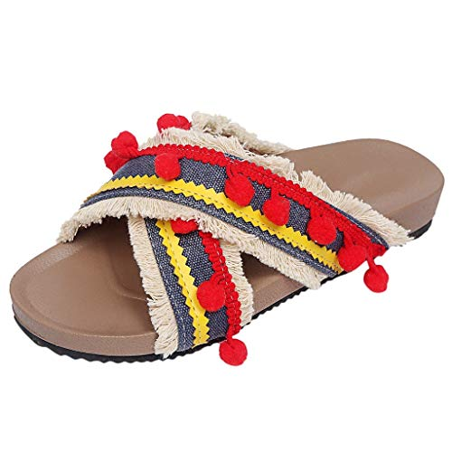 Aunimeifly Ladies Bohemian Ethnic Style Flat Slides Female Modo Sandals Boom Boom Beach Slipper Red - Moda Silk Heels