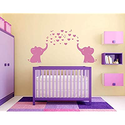 YOYOJOY Elephant Family Wall Decal with Hearts Music Quote Art Baby Nursery Wall Decor (Pink) - 24