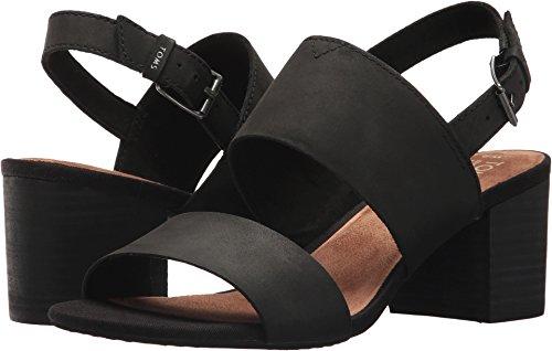 TOMS Women's Poppy Sandal Black Leather Size 8.5 B(M) US