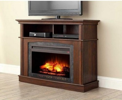 New Electric Fireplace Media Entertainment Center with Side Storage Compartments