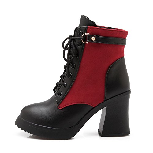 Women's Closed Red High Blend Materials AgooLar Toe Heels Boots knot UTFqwB