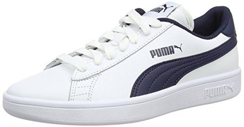 Puma Smash V2 L Jr, Zapatillas Unisex Niños Azul (Puma White-peacoat)