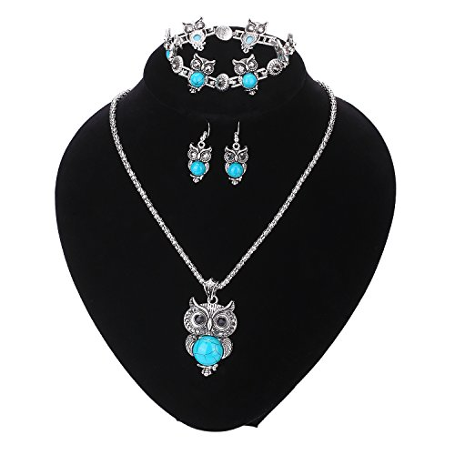 Paxuan Womens Vintage Owl Turquoise Jewelry Sets Retro Silver Turquoise Owl Pendant Necklace Drop Earrings Link Bracelet Set (Owl Jewelry)