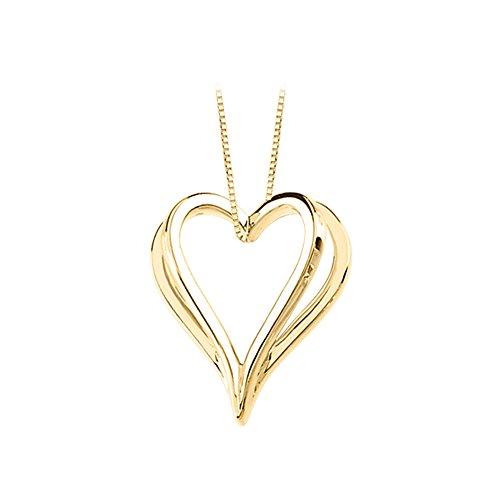 14k Yellow Slide (14K Yellow Gold Shadow Heart Slide Pendant Necklace)