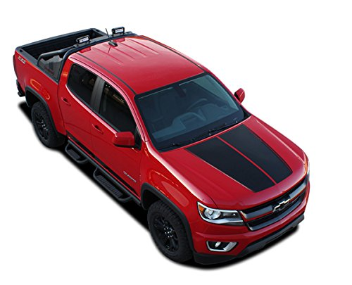 Chevy Colorado Driver Design - SUMMIT HOOD GRAPHIC : 2019 2018 2017 2016 2015 Chevy Colorado Dual Split Hood Racing Stripe Accent Vinyl Graphic Package Stripe 3M Decal Kit (FITS ALL MODELS) (Color-3M 16812 Matte Black)