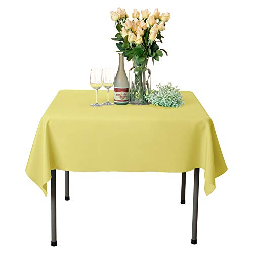 (VEEYOO Square Tablecloth 100% Polyester Table Cloth for Indoor and Outdoor Table - Solid Dinner Tablecloth for Wedding Party Restaurant Coffee Shop (Yellow, 54x54))