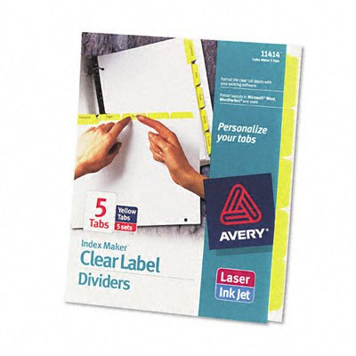 ~:~ AVERY-DENNISON ~:~ Index Maker White Dividers, 5-Tab, Lsr/IJ, Letter, YW/CLR , 5 (Avery Dennison Index Maker Copier)