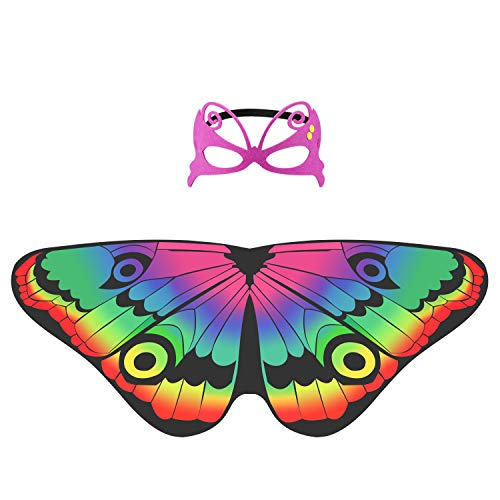 (Hifot Butterfly Fairy Wings Princess Dress up, Girl Dreamy Dance Butterfly Shawl for Kids Party Favor Supplies with Felt Mask (Multi))