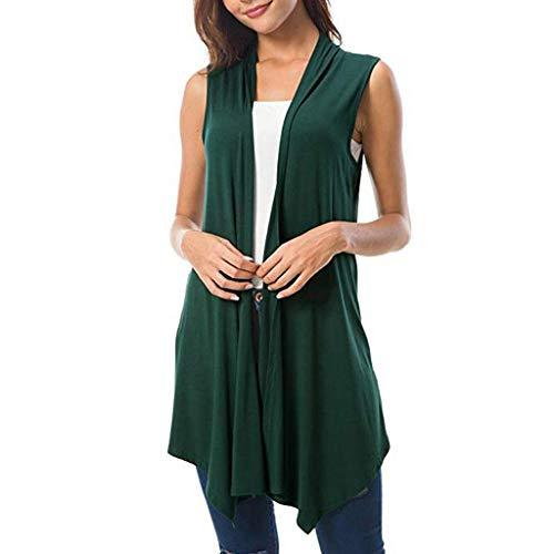 〓COOlCCI〓Women's Sleeveless Draped Open Front Cardigan Vest Asymmetric Hem,Cardigan Lightweight Draped Layering Vest Green