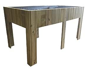 Mesa de cultivo grande (Huerto urbano) de madera tratada 150x80x80 cm
