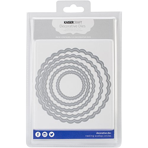 Scalloped Die Cut - Kaisercraft Nesting Dies-Scallop Circles, 1.75 by 1.75-Inch to 4.75 by 4.75-Inch