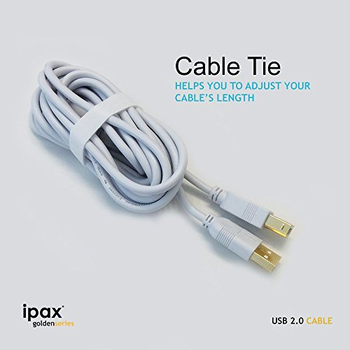 IPAX 30Ft Gold Plated Hi-Speed Printer Cable 15ft Interface + 15Ft USB Extension