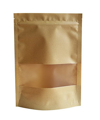 51groups Kraft Paper Bag with Transparent Window(50-Pack) Dry Food Snack Storage | Home, DIY, Commercial Use | Store Coffee, Tea Leaves, Nut, Candy | Food-Grade Safe (3.5X 5.5)