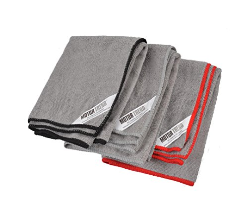 Motor Trend 3 pack Microfiber Towels for Cleaning Drying & Polish