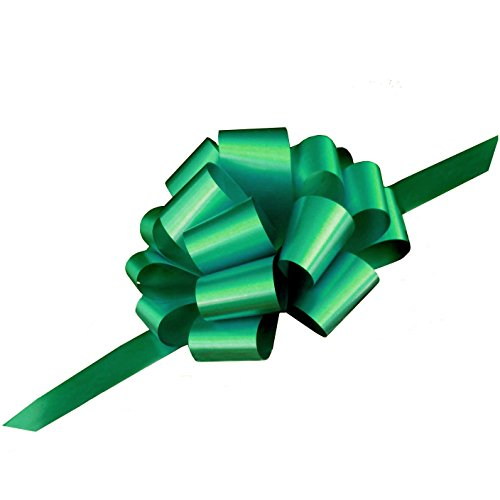 Large Emerald Green Pull Bows - 9 Wide, Set of 6, Bows for Gifts, St. Patricks Day Ribbons, Wedding Decor, Christmas Presents Decorations