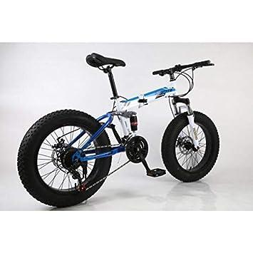 """L&LQ 20"""" Bicicleta De Montaña Plegable De Aleación 27 Velocidad Doble Suspensión 4.0 Pulgadas Bicicleta"""