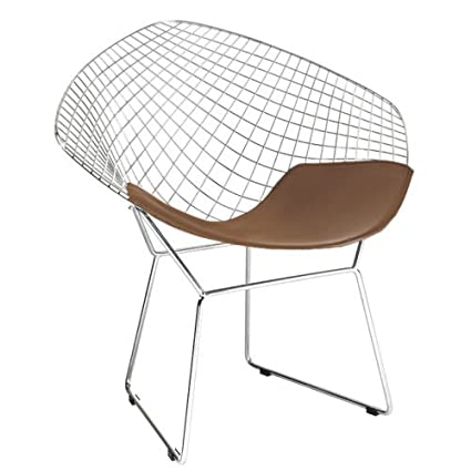 Beau Bertoia Style Diamond Chair In Chrome Finish With Brown Seat Pad