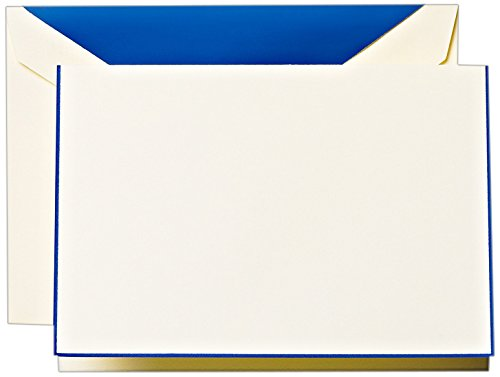 Crane & Co. Regent Blue Bordered Ecruwhite Note with Liner (CF1430)