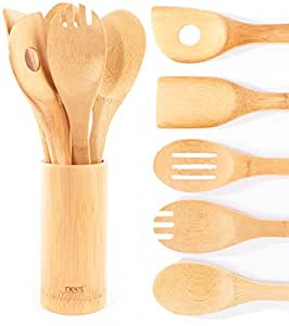 Neet Organic Wooden Bamboo Cooking & Serving Utensils, kitchen utensils, 6 Piece Set BMB-U6