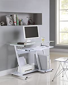 Black White Glass Computer Desk Pc Table Home Office Furniture High Gloss Shelf White Large