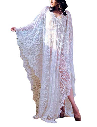 Bsubseach Women Plus Size Lace Swimwear Bikini Cover Up Batwing Sleeve V Neck Long Beach Kaftan Dress ()