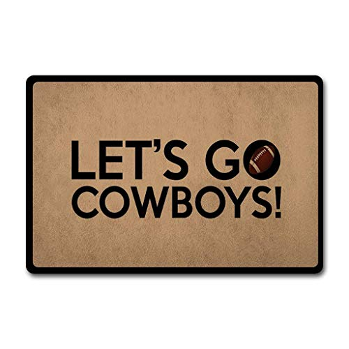 Mat Cowboys Door Rug Dallas (ZQH Entrance Door Mats Let's Go Cowboys Doormat Dallas Doormat (23.6 X 15.7 in) Non-Woven Fabric Top with a Anti-Slip Rubber Back Door Rugs Front Door Doormat)