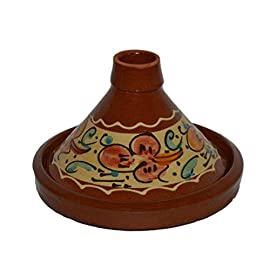 Moroccan Small Cooking Tagine Lead free. 2 <p>Simple and functional, this authentic, handcrafted Moroccan cooking Tagine is ready to be used for your next flavorful and exotic Moroccan meal.The Tagine is to be use on the top of electrical or glass stove or inside the stove. If you have a gas stove with flames please use a protective metal piece to protect your Tagine from cracking. Measurement : extra small 8 inches wide Free Shipping Ideal for cooking on top of any stove Cook Chicken, Meat, Seafood or Vegeterian food Work as a stew</p>