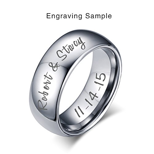 Vnox Custom Engraving 8MM Width Tungsten Carbide Wedding Band Promise Engagement Ring for Men Women,Silver,Size 6