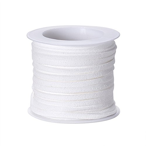 Fashewelry 5.46 Yards Micro Fibre Faux Suede Flat Cord 3x1.5mm Leather Lace Velvet Beading String Rope with Roll Spool for DIY Jewelry Craft Making (White)