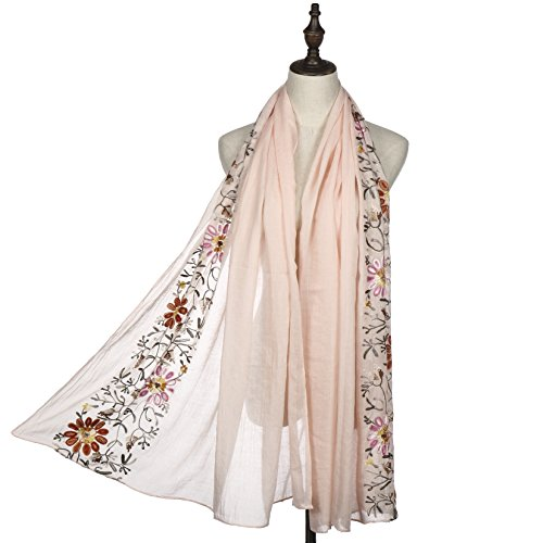 Women Fashion Scarf Shawl Wrap,RiscaWin Colorful Lightweight Exquisite Daisy Flower Embroidered Scarves(Pink)