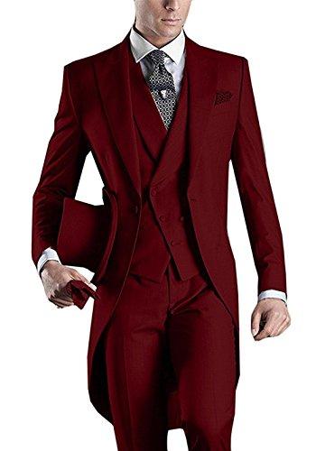 Peak Tailcoat - Everbeauty Men's Handsome 3 Pieces Tailcoat Suit Set Business Suit For Men 2018