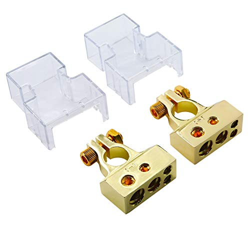 2/4/8/10 Gauge AWG Positive & Negative Battery Terminal Connectors Clamp (Pair)