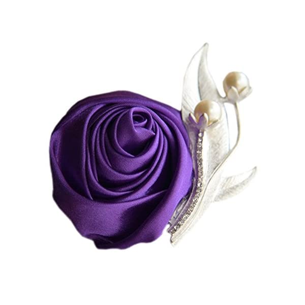 S_SSOY Boutonniere Bridegroom Groom Men's Boutonniere Groomsmen Best Man Boutineer with Pin Artificial Flower Brooch Corsage for Wedding Homecoming Prom Suit Decor Purple Pack of 4