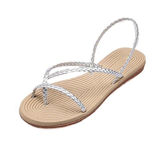 Xmansky Damen Kreuz-Gebunden Schuhe Bandagen Böhmen Freizeit Rückengurt Sandalen Hausschuhe Wohnung mit Schuhe Silber