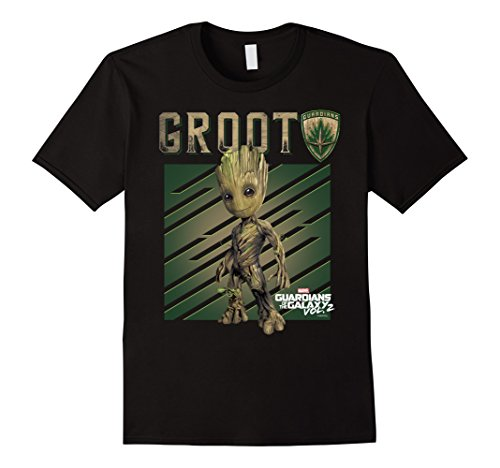 Men's Marvel Groot Guardians of Galaxy 2 Growth Graphic T-Shirt 2XL Black