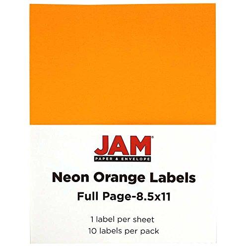 JAM Paper Full Page Labels - 8.5 x 11 Sticker Paper - Neon Orange - 10/pack