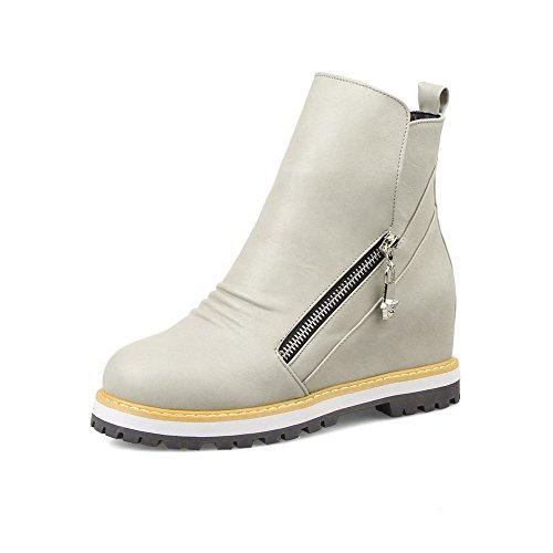 VogueZone009 Damen Hoher Absatz PU Leder Überschneidend Armband Schnüren Stiefel, Weiß, 35