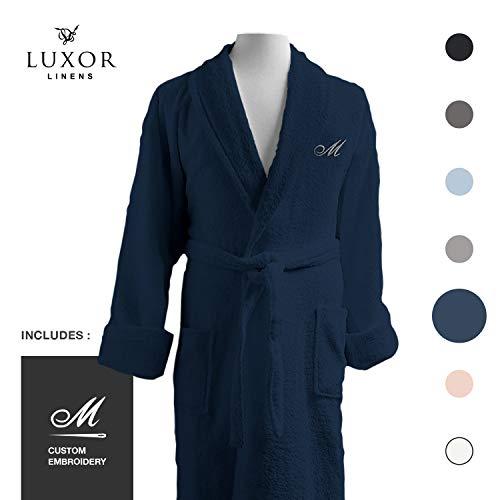 Luxor Linens Couple's Terry Cloth Bathrobe Egyptian Cotton Unisex/One Size Luxurious Soft Plush Elegant San Marco (Single Robe, with Custom Monogram, Dark ()