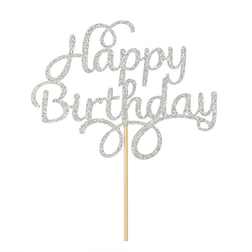 Silver Glitter Happy Birthday Cake Topper First Birthday Party -