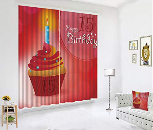 SCOCICI Blackout Curtain Set for Living Room,Graphic Cupcake with Candlestick Stars Warm,Decor Creative 3D Printed Blackout Window Drape for Bedroom Kids Room Window Treatments(2 Panels)