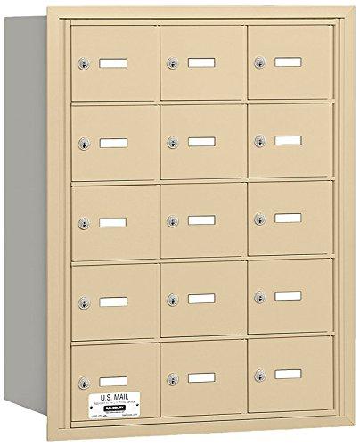 Salsbury Industries 3615SRU 4B Plus Horizontal Mailbox, 15 A Doors, Rear Loading, USPS Access, Sandstone